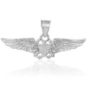 Silver U.S. Flight Naval Officer Anchor Necklace